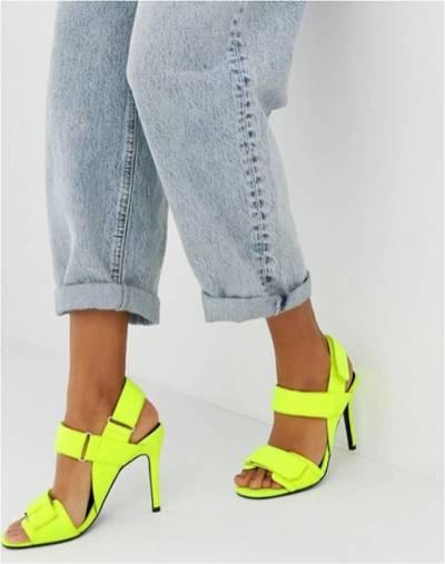 Sandali giallo fluo con tacco